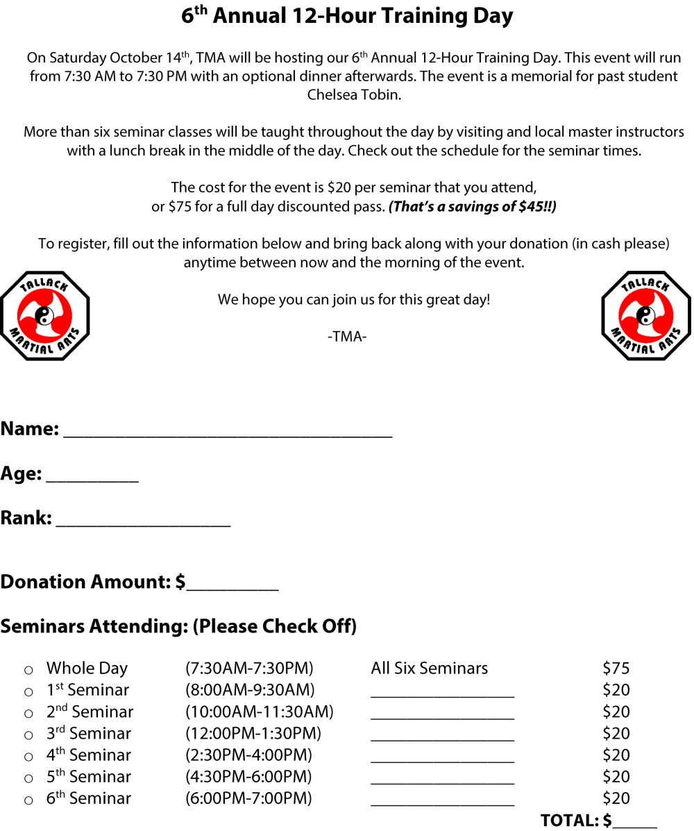 6th Annual 12-Hour Training Day Registration Form