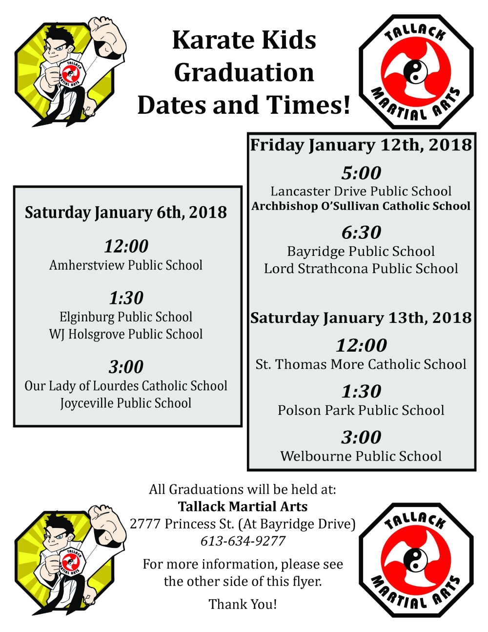 Karate Kids - January 2018 Graduation Schedule