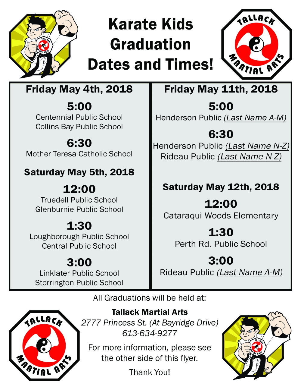 Karate Kids - May 2018 Graduation Schedule
