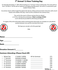7th Annual 12-Hour Training Day Registration Form